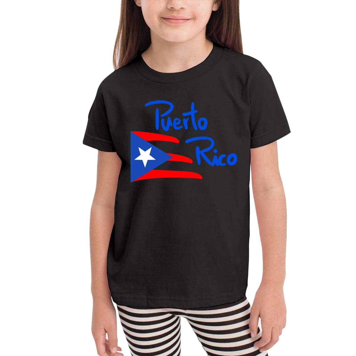 Toddler Puerto Rico Flag Cute Short Sleeve Tee Shirt Size 2-6