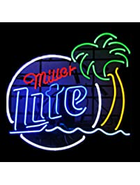 miller lite palm tree real glass beer bar pub store decor neon signs 19x15