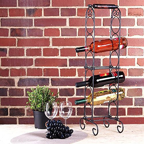 DESIGNER 6 BOTTLE WINE RACK HOLDER cage storage wrought iron stand from XTRADEFACTORY by DESIGN DELIGHTS