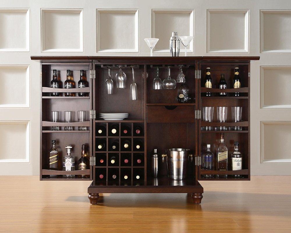 amazoncom crosley furniture cambridge expandable bar cabinet in vintage mahogany finish kitchen dining cds furniture