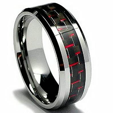 Red Black Carbon Fiber Tungsten Carbide Mens Womens Comfort Fit