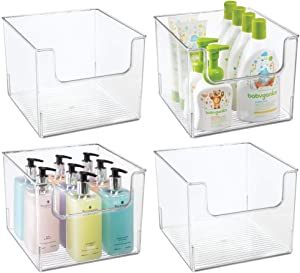 mDesign Plastic Open Front Bathroom Storage Organizer Basket Bin - for Cabinets, Shelves, Countertops, Bedroom, Kitchen, Laundry Room, Closet, Garage - 4 Pack - Clear