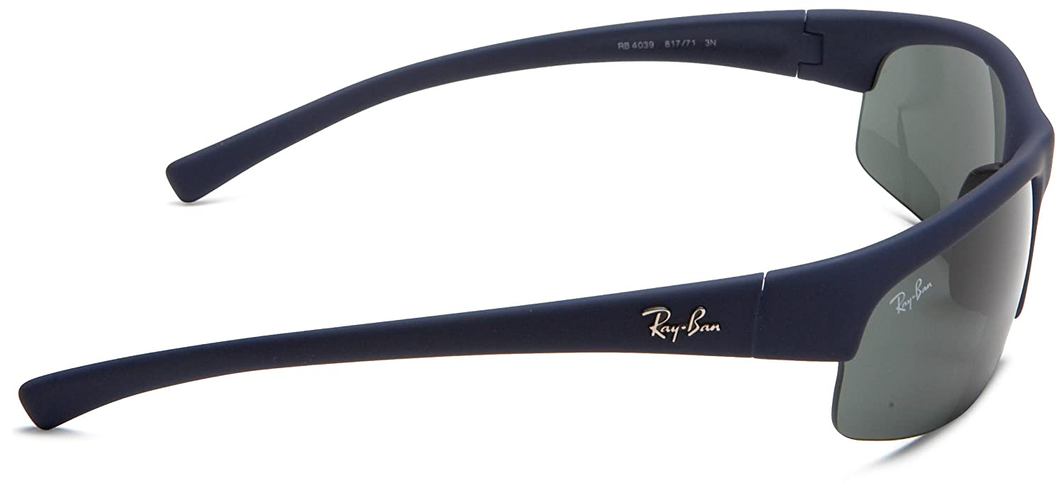 9f03d534e1 Amazon.com  Ray-Ban RB4039 - BLUE DOWNPOUR RUBBERIZE Frame GREEN Lenses  63mm Non-Polarized  Clothing