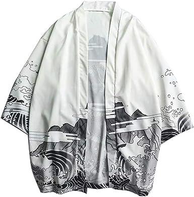 LaoZanA Hombre Camisa Kimono Estilo Japonés Estampado Holgado Cárdigan: Amazon.es: Ropa y accesorios