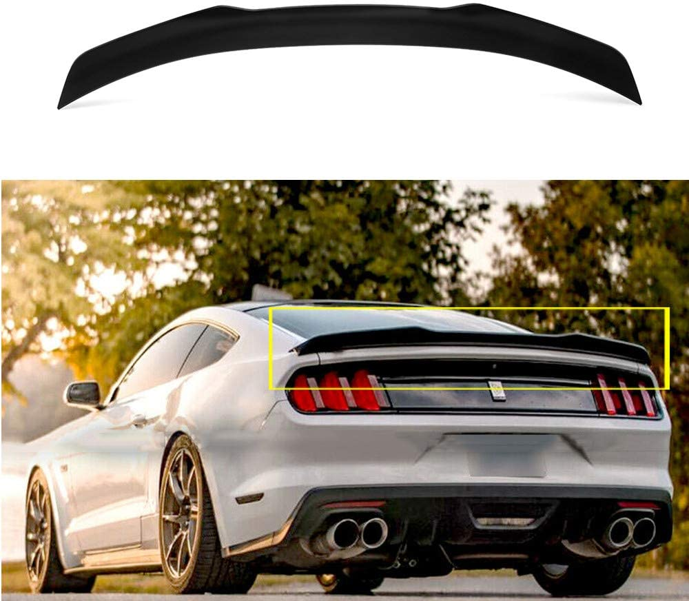 MotorFansClub Rear Spoiler Trunk Wing Fit for Compatible with Ford Mustang 2015-2020 High Kick V Style ABS Matte Black