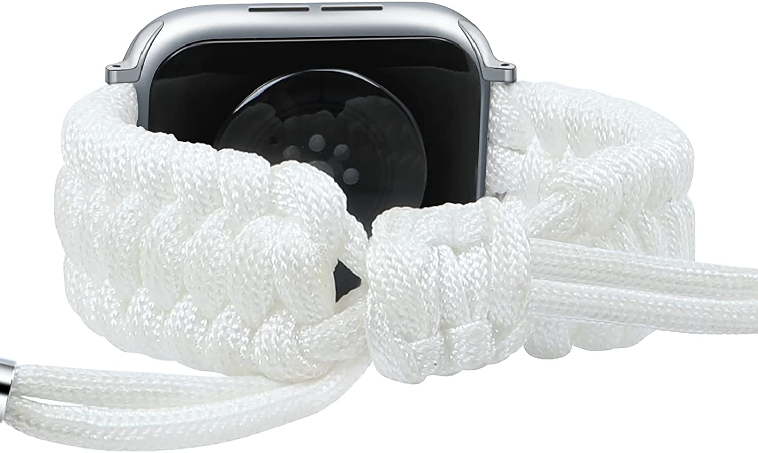 Fun Gaau NylonBraided compatible White AppleWatchBand 38mm 40mm Paracord Adjustable Woven Strap for iwatch Series 6/5/4/3/2/1 Replacement Wristband