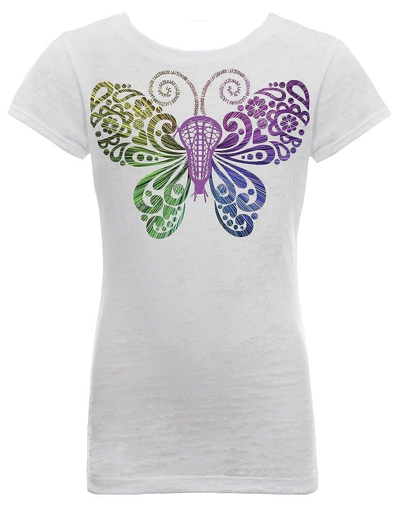 LAX SO HARD Girls Lacrosse Neon Butterfly Burnout T-Shirt