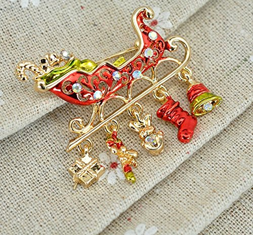 HARDWARE FOR YOU LTD 1 CHRISTMAS CRYSTAL SANTA'S SLEIGH BROOCH HANDBAG PIN PARTY XMAS PIN Supplied by HARDWARE FOR YOU