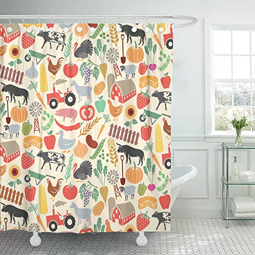 - Emvency Shower Curtain Set Waterproof Adjustable Polyester Fabric Pattern Agricultural Farm Windmill Tractor Cow Chicken Pig Sheep Goat Bull 66 x 72 Inches Set with Hooks for Bathroom