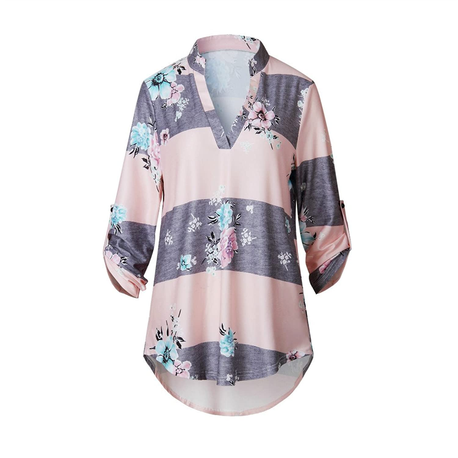 LiMiCao Womens Casual V Neck 3 4 Sleeve Floral Print Blouses And Tops T Shirts