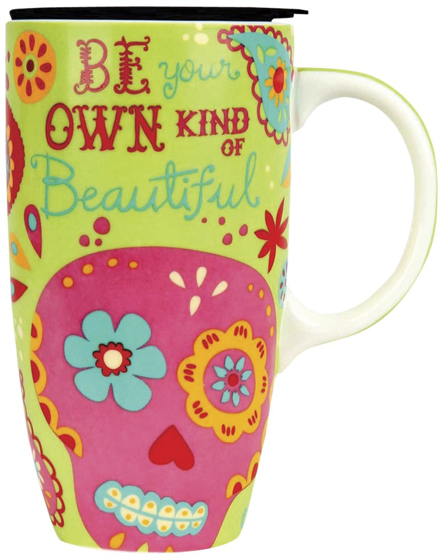 Karma Gifts Happy Trails Travel Mug, Sugar Skull