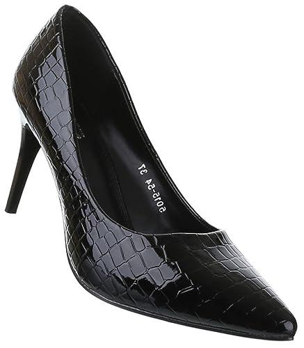 Frauen High Heels mit 11 cm Stiletto-Absatz in Schwarz und Größe 37 Klassische Abendschuhe in Synthetik & Lacklederoptik Po5QZ