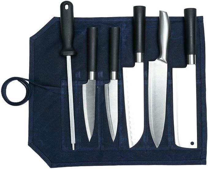 Fushida - Estuche para Cuchillos de Chef, 6 Compartimentos, Bolsa Resistente para Cuchillos, Estuche de Almacenamiento de Lona Encerada Resistente, Azul Oscuro: Amazon.es: Deportes y aire libre