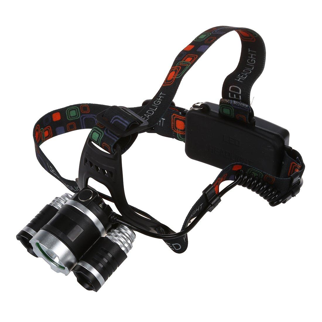 Faro - SODIAL(R)8000LM 3x LED XM-L T6 Lampara de cabeza de foco Faro Antorcha de cabeza de zoom Luz de Flash Negro: Amazon.es: Deportes y aire libre