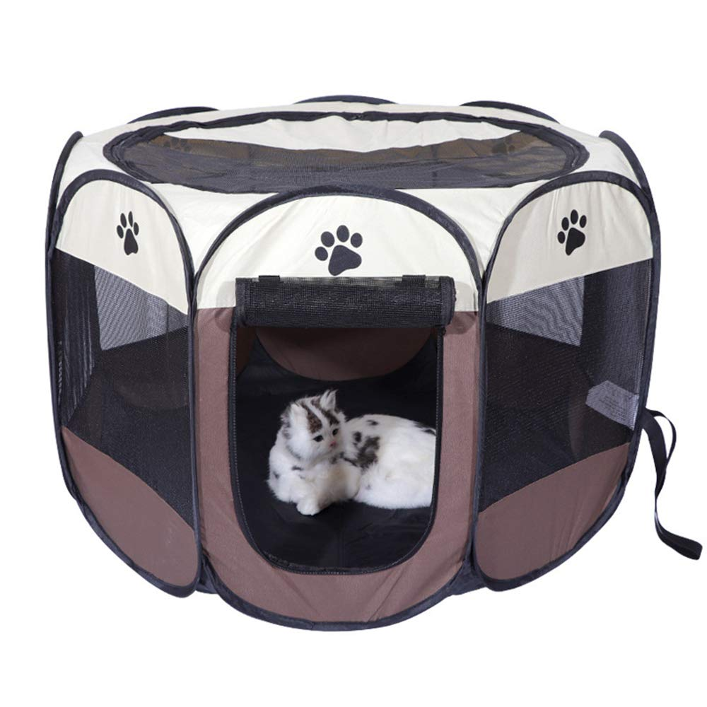 Portable Pet Puppy Dog Cat Animal Playpen,Tool-Free Setup,The Best Indoor and Outdoor Pen,Removable Security Mesh Cover Shade