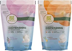 Grab Green Automatic Dishwashing Detergent Pods Variety Pack - Thyme with Fig Leaf and Tangerine with Lemongrass (Pack of 2)