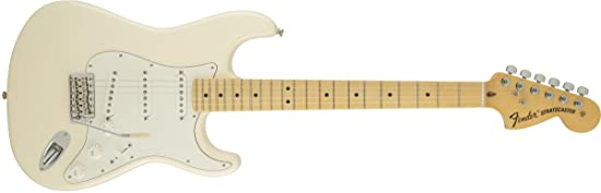 side facing fender american special stratocaster olympic electric guitar