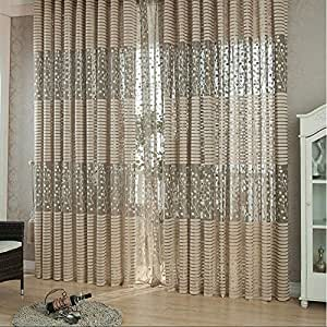Modern Khaki Room Leaf Tulle Door Window Curtain cortinas for living room blackout curtains 200cm x 100cm