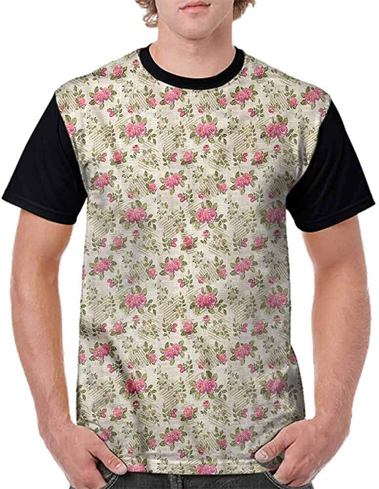 Cotton T-Shirt,Rose Bouquet Floral Fashion Personality Customization