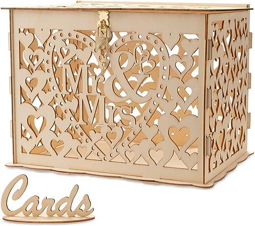 LONGBLE - Caja para Tarjetas de Boda de Madera con candado ...