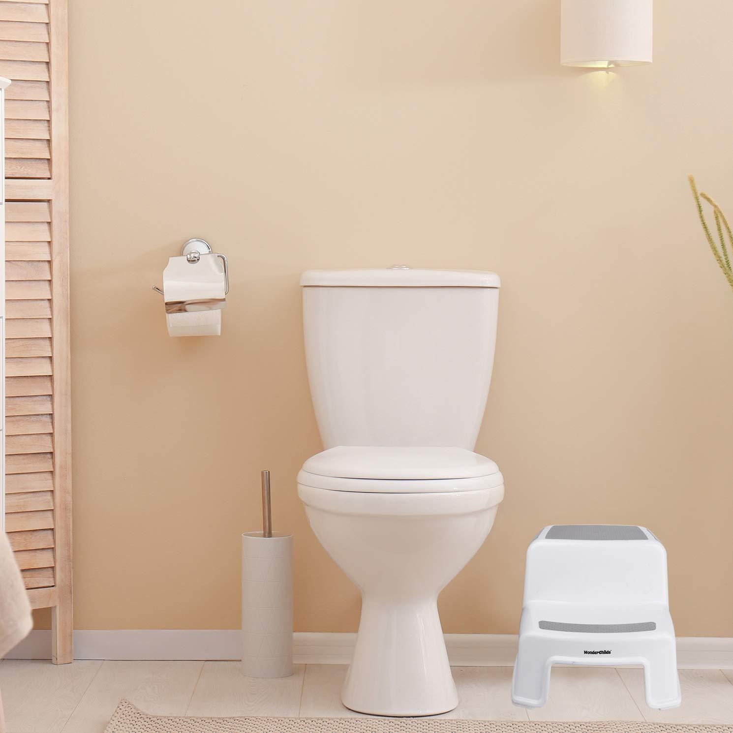 WONDER CHILDS tritthocker kinder 2 Stufen zum Erlernen des Putzens Der hocker kinder bad ist geeignet f/ür Bad Waschbecken K/üche Bett und Kindertoiletten-Reduzierer wei/ß