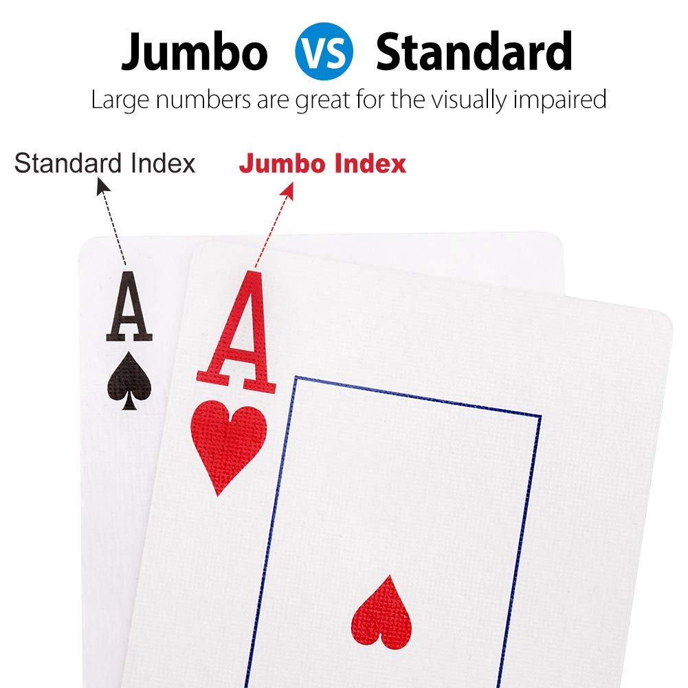 Puntelli Magici LotFancy Carte da Gioco Ramino 12 Mazzi Grande Stampa Carte da Poker Indice Jumbo per Pinochle Rosso e Blu Grandi Regali Carte da Gioco Canasta