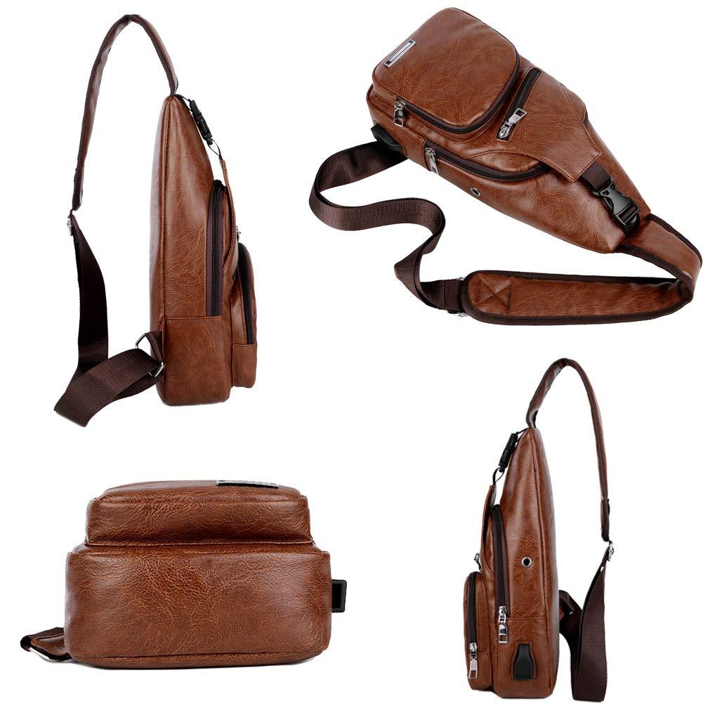 Sling Bag Men Chest Shoulder Backpack Crossbody Bag with USB Charging Port for Women Hiking Cycling Camping Daypacks (drak brown -3) by MeKaren (Image #5)