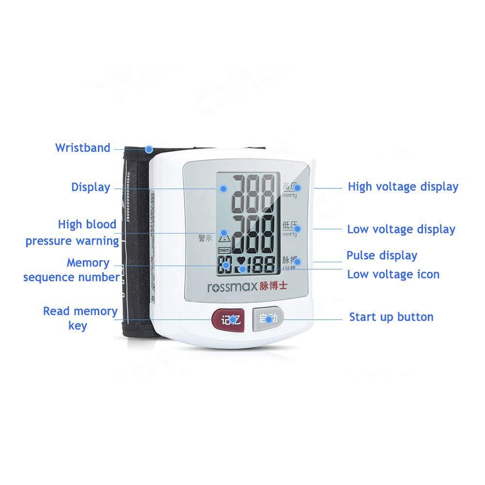 Tensiómetro de muñeca,Digital Electrónico Monitor De Presión Arterial con Detección del Ritmo Cardíaco Hipertensión,Gran Pantalla LCD Lectura Fácil,Memoria ...