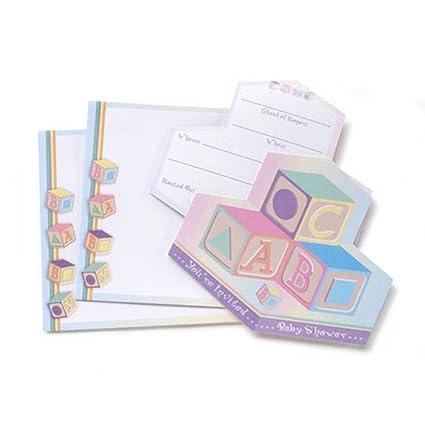 Amazon baby shower invitations pastel blocks boy girl w baby shower invitations pastel blocks boy girl w envelopes 12 total filmwisefo