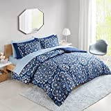 Bed In a Bag Queen Comforter Set with Sheets feat. Two Side Pockets - Cara 9 Piece All Season Bedding Sets Queen Microfiber Printed Blue Medallion