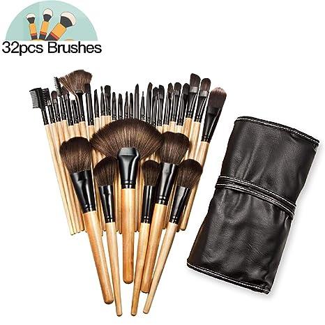 Brochas maquillaje profesional AIDUE 32pcs, set de cepillos de maquillaje coméstico para sombra de ojos, colorete, polvo y cejas con bolsa de viaje