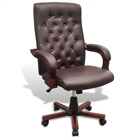 vidaXL Chesterfield Silla para Oficina de Cuero Artificial marrón sillón de despacho