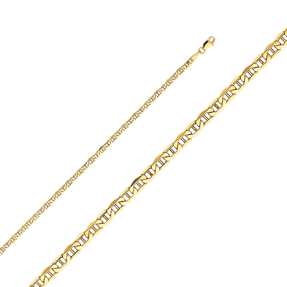 Jewels By Lux 14K Yellow Gold Hollow Mariner Bevel Chain Necklace With Lobster Claw Clasp