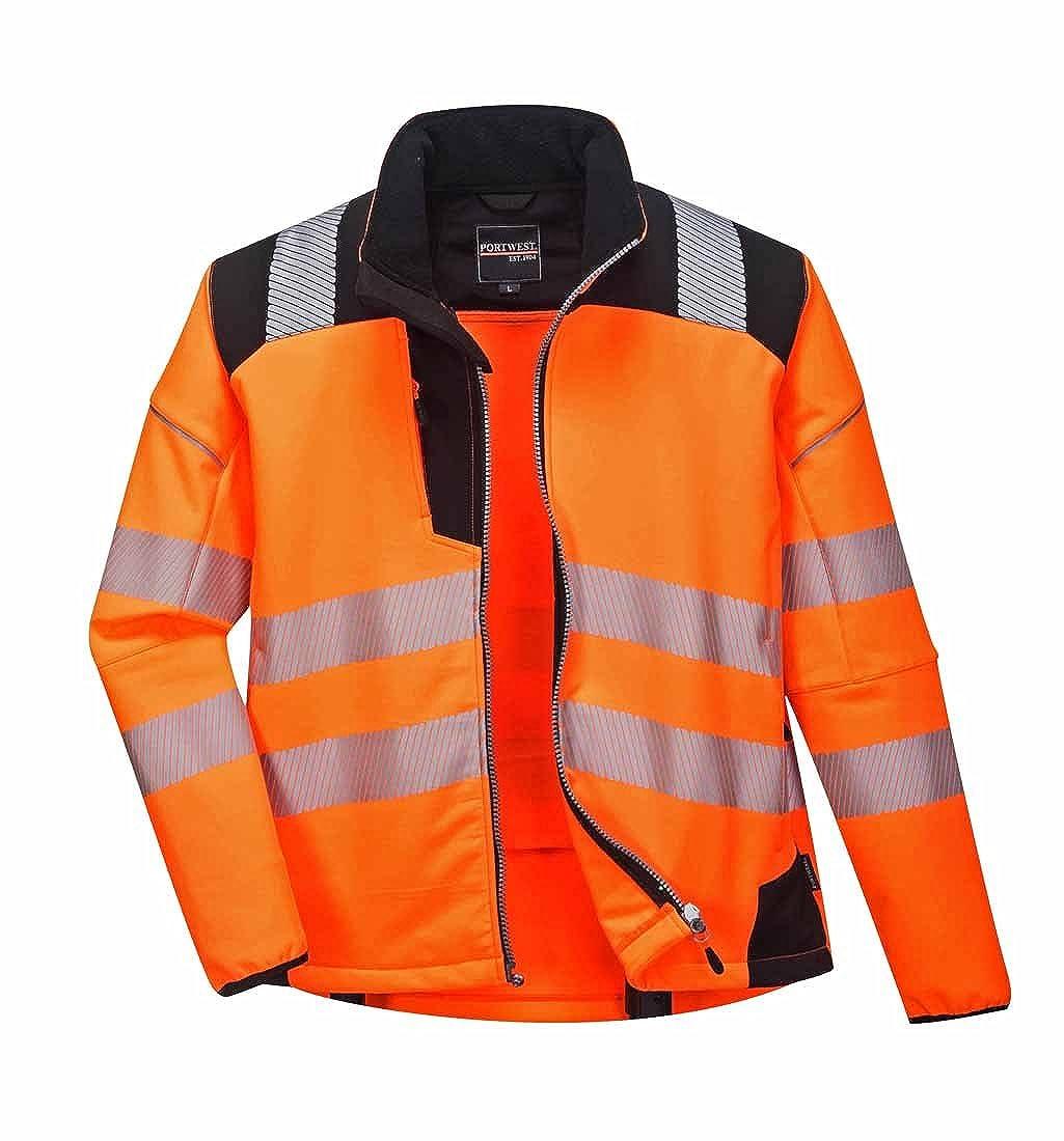 Orange noir 3X-grand Portwest Veste de Pluie Softshell Haute visibilité Vision
