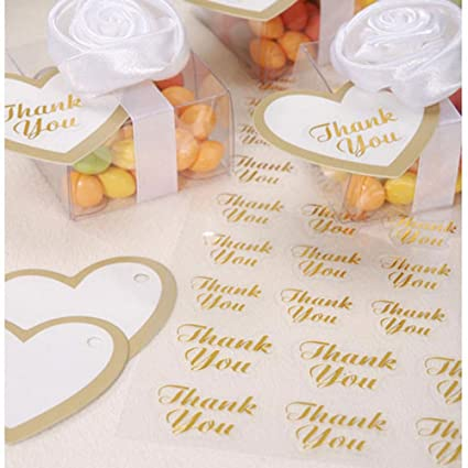 Clear thank you stickers with gold writing by victoria lynntm 47 pieces