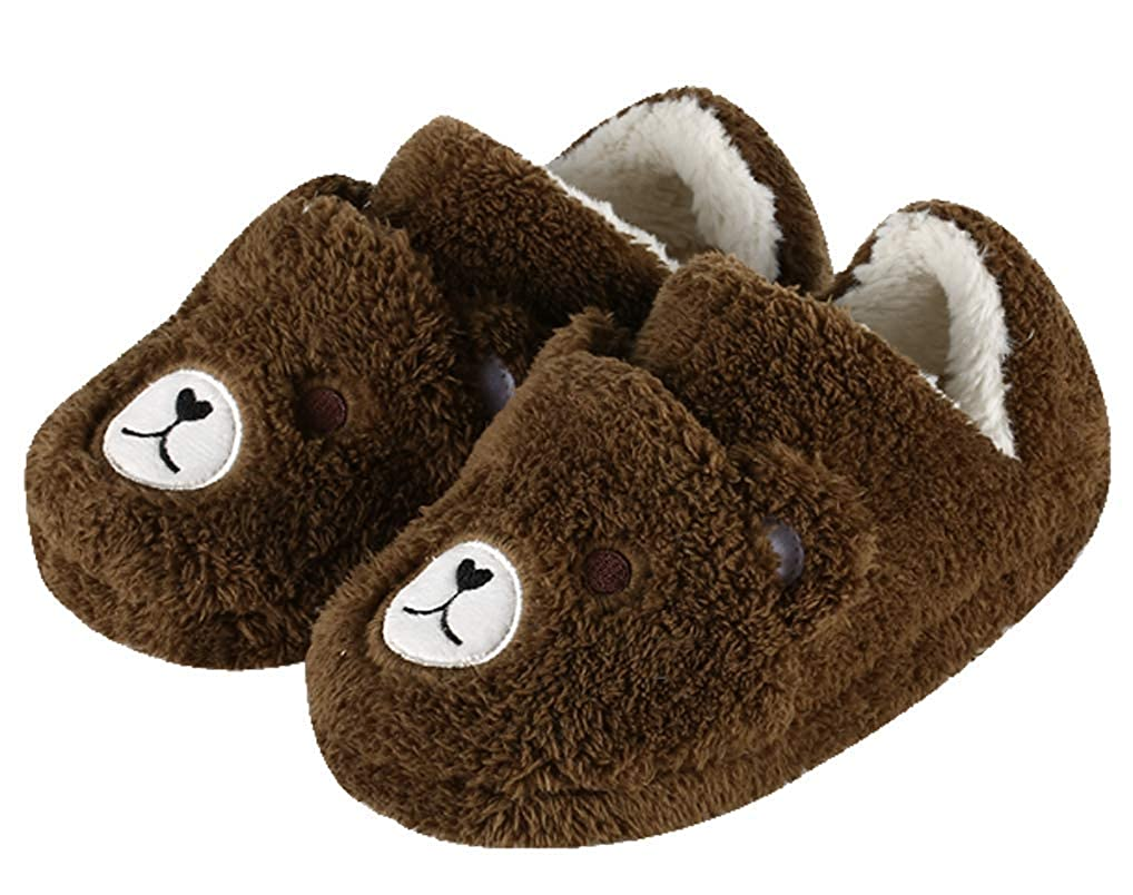 Cattior Kids Indoor Outdoor Warm Bear Slippers Fluffy Slipper Shoes Toddler Little Kid