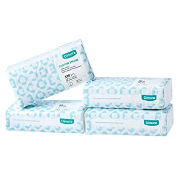 Dimora Soft Dry Wipe 400 Count Unscented Cotton Tissues for Sensitive Skin Made of Cotton Only