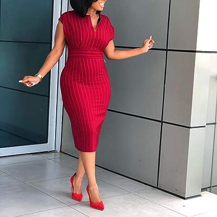 7b0f231e0126 Taiguang Women's Dress, Plus Size Summer Fashion Women Striped V Neck Short  Sleeve Bodycon Midi