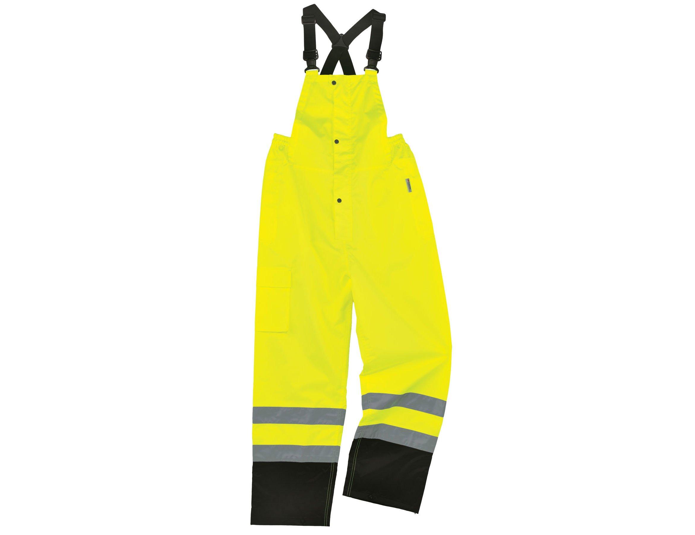 Ergodyne GloWear 8915BK ANSI Black Bottom High Visibility Lime Safety Rain Pants, 3XL