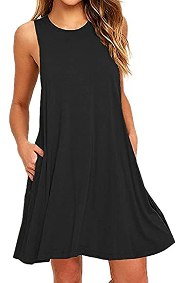 5783e7c595c9 Zilcremo Women s Summer Casual Sleeveless Sundress Tunic Dress with Pockets  Black S