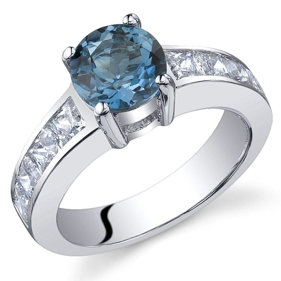 London Blue Topaz Ring Sterling Silver Rhodium Nickel Finish Round Shape CZ Accent Size 8