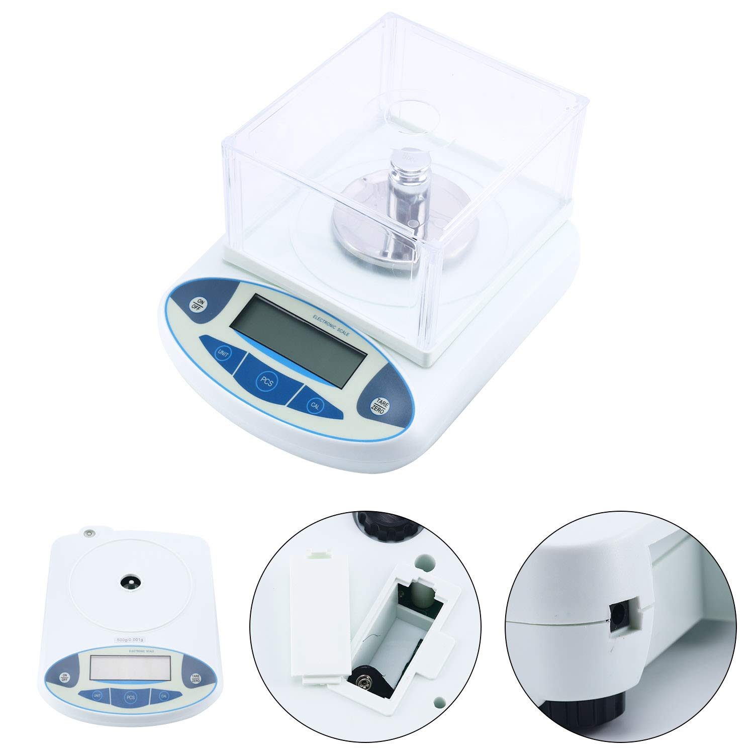 100/200/500 x0.001g 1mg Lab Analytical Balance Digital High Precision Electronic Scale Jewelry Scale (500x0.001g)