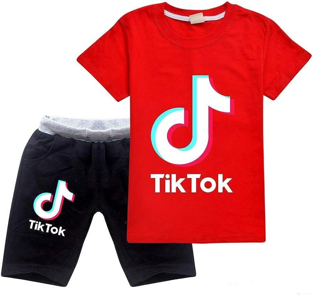 Sch/önes LUV 2020 TIK TOK Kinderbekleidungsset aus Baumwolle f/ür Jungen und M/ädchen Shorts und T-Shirt