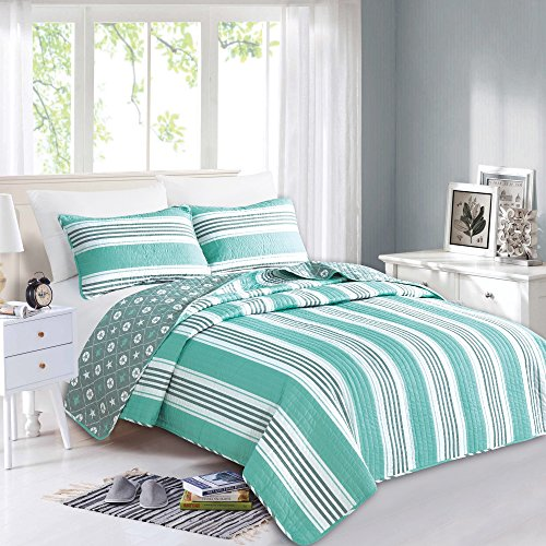Great Bay Home 3-Piece Coastal Beach Theme Quilt Set with Shams. Soft All-Season Luxury Microfiber Reversible Bedspread and Coverlet. St. Croix Collection By Brand. (Full/Queen, Aqua/Grey)
