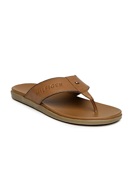 83e42a7cd Tommy Hilfiger Men Brown Leather Sandals (10UK)  Buy Online at Low ...