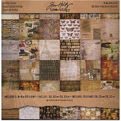 Tim Holtz Idea-Ology Paperie (Collage Mini Stash) *** Product Description: Tim Holtz Idea-Ology Paperie- Description: Collage Mini Stash- Unit: 36 Sheets Of 8 In. X 8 In. Double-Sided Cardstockpaperie Encompasses Various Paper Embellishments To A ***
