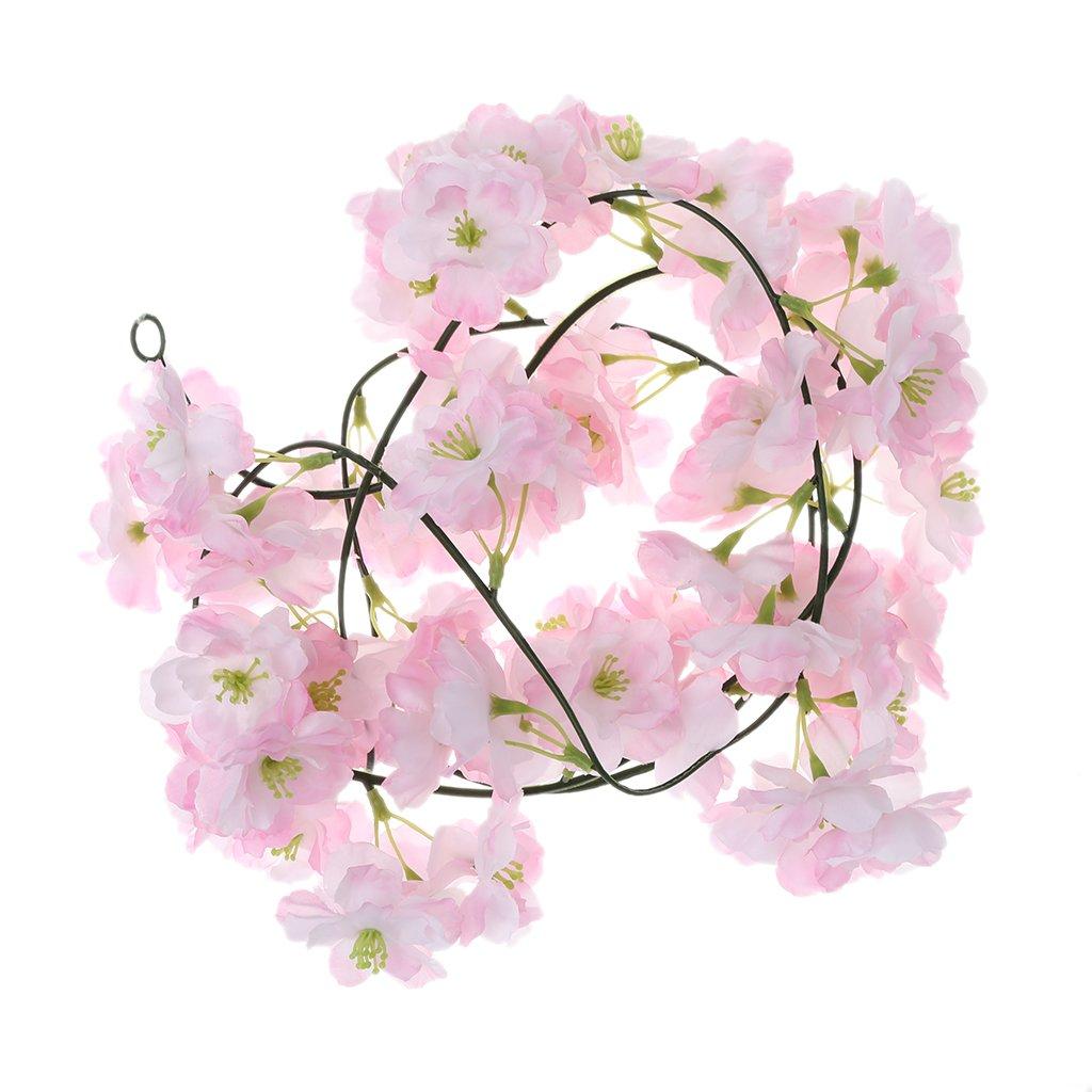 Tebatu Sakura Rattan Wedding Arch Decoration Vine Artificial Flowers Home Party Decor - Pink
