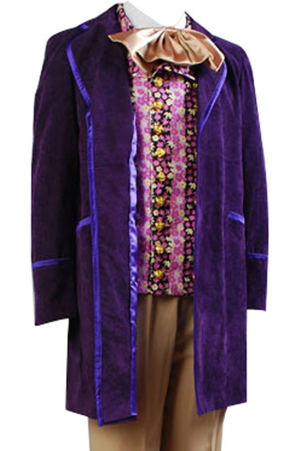 mingL Willy Wonka Charlie and the Chocolate Factory Johnny Depp Jacket Whole Costume Suit Purple