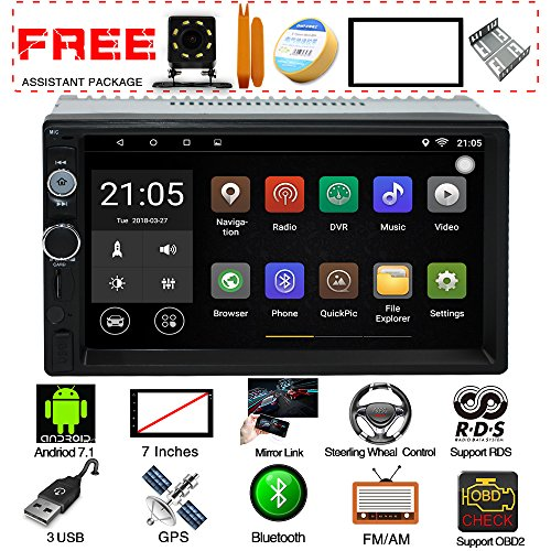 AUROADOR Upgraded 7 Inch Touch Screen Android 7.1 QuadCore CPU Double Din Car Stereo In Dash GPS Navigation Surport Bluetooth WiFi Car Radio Audio vehicle Headunit Free Rear Camera Car Tuning Tools