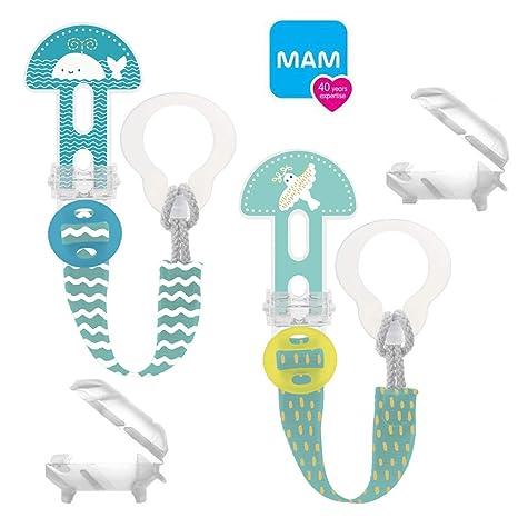 Mam Clip it. Fashion & Cover cinta para chupete Chupete Cadena con aspiradora Protección//Juego De 2 Uni//longitud ajustable, lavable